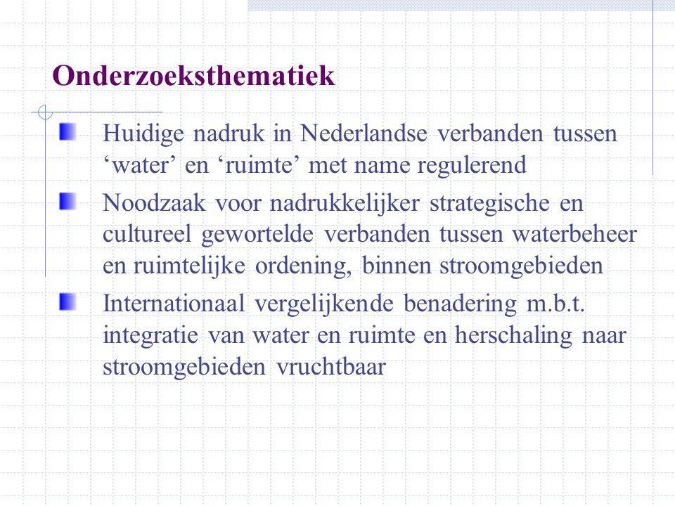 Onderzoeksthematiek Huidige nadruk in Nederlandse verbanden tussen 'water' en 'ruimte' met name regulerend.