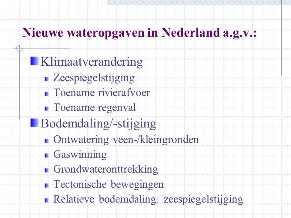 Nieuwe wateropgaven in Nederland a.g.v.: