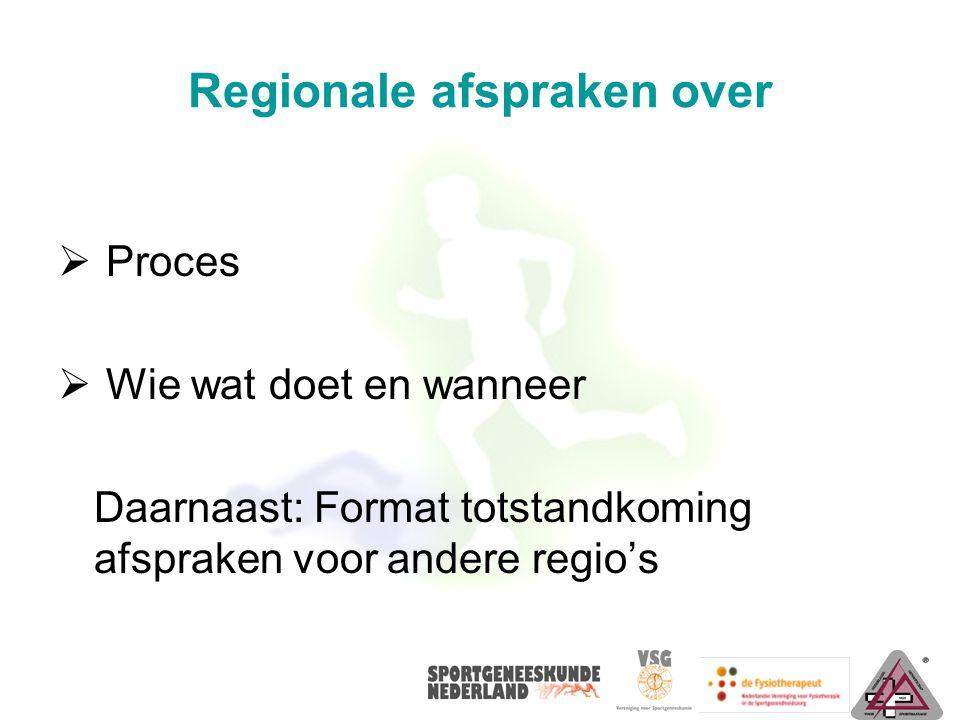 Regionale afspraken over