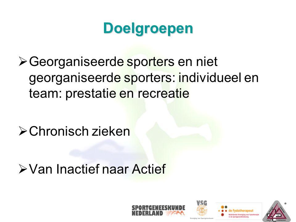 Doelgroepen Georganiseerde sporters en niet georganiseerde sporters: individueel en team: prestatie en recreatie.