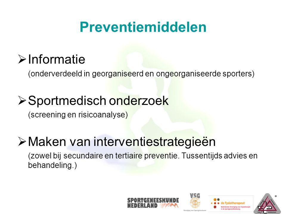 Preventiemiddelen Informatie Sportmedisch onderzoek