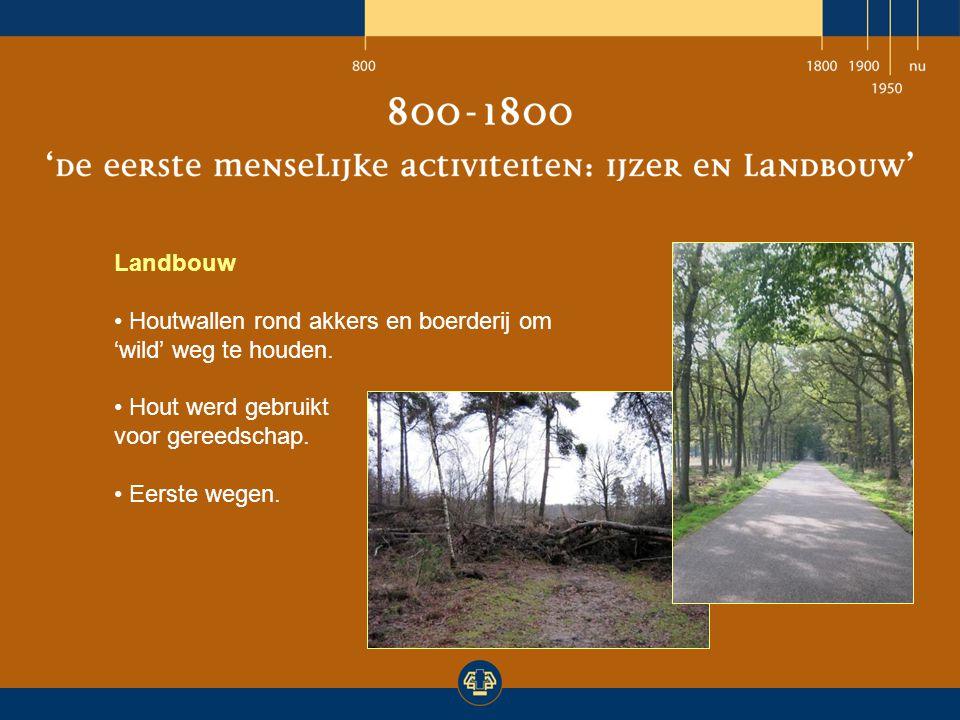 Landbouw Houtwallen rond akkers en boerderij om 'wild' weg te houden. Hout werd gebruikt. voor gereedschap.
