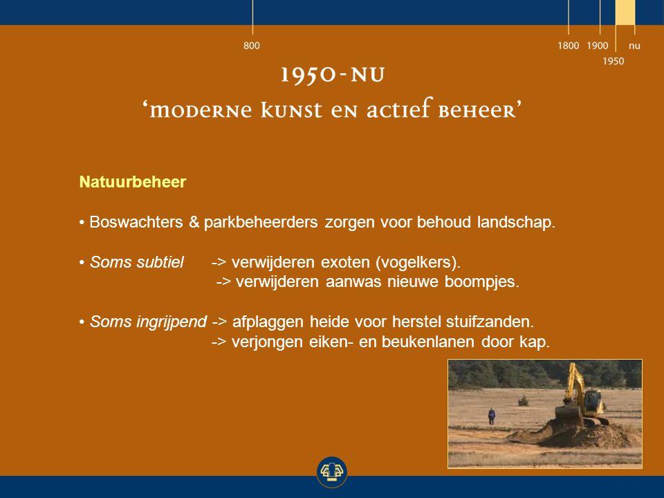 Natuurbeheer Boswachters & parkbeheerders zorgen voor behoud landschap. Soms subtiel -> verwijderen exoten (vogelkers).