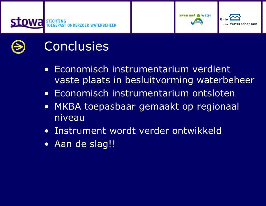 Conclusies Economisch instrumentarium verdient vaste plaats in besluitvorming waterbeheer. Economisch instrumentarium ontsloten.