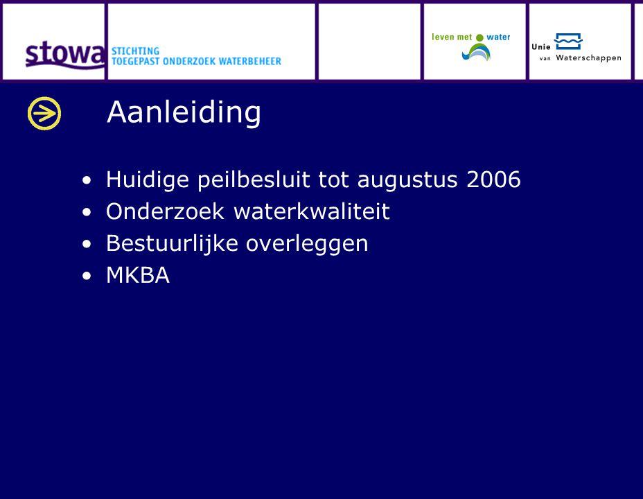 Aanleiding Huidige peilbesluit tot augustus 2006