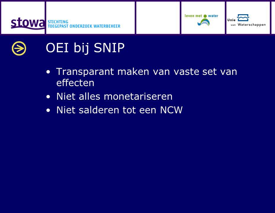 OEI bij SNIP Transparant maken van vaste set van effecten