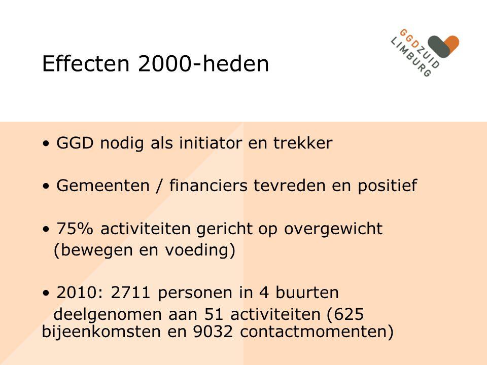 Effecten 2000-heden GGD nodig als initiator en trekker