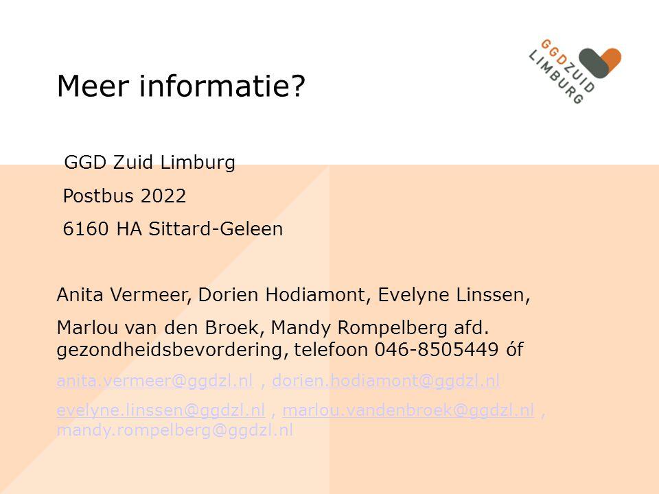 Meer informatie GGD Zuid Limburg Postbus 2022 6160 HA Sittard-Geleen