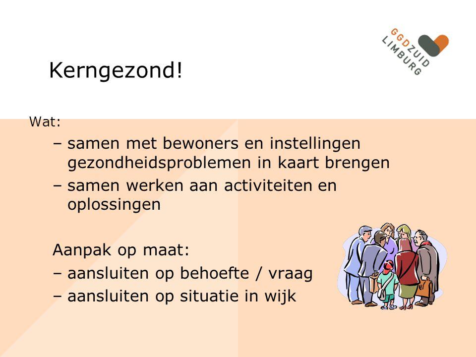 Kerngezond! Wat: samen met bewoners en instellingen gezondheidsproblemen in kaart brengen. samen werken aan activiteiten en oplossingen.