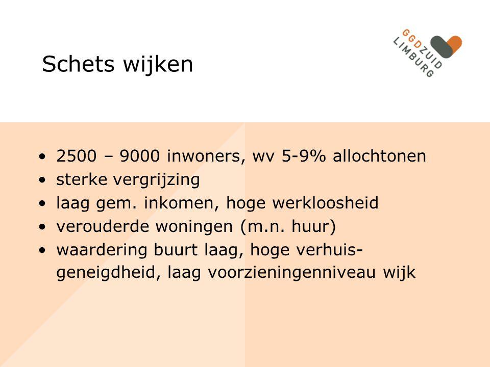 Schets wijken 2500 – 9000 inwoners, wv 5-9% allochtonen