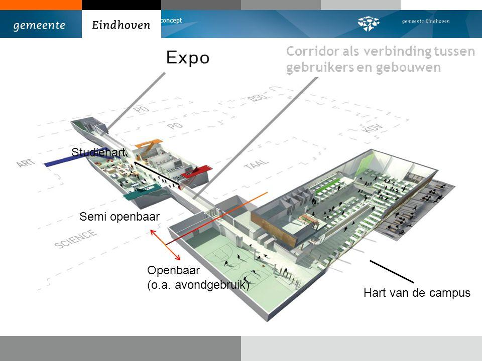 Corridor als verbinding tussen gebruikers en gebouwen