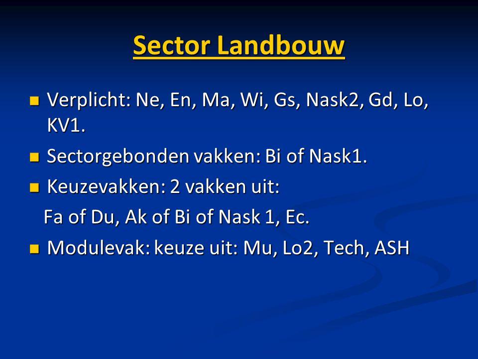 Sector Landbouw Verplicht: Ne, En, Ma, Wi, Gs, Nask2, Gd, Lo, KV1.