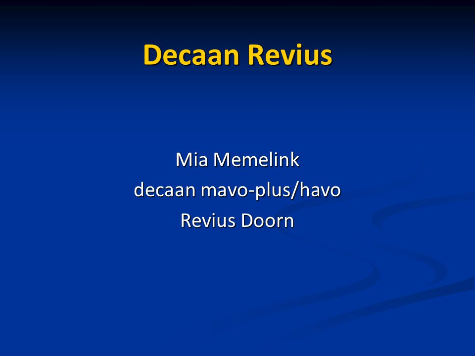 decaan mavo-plus/havo