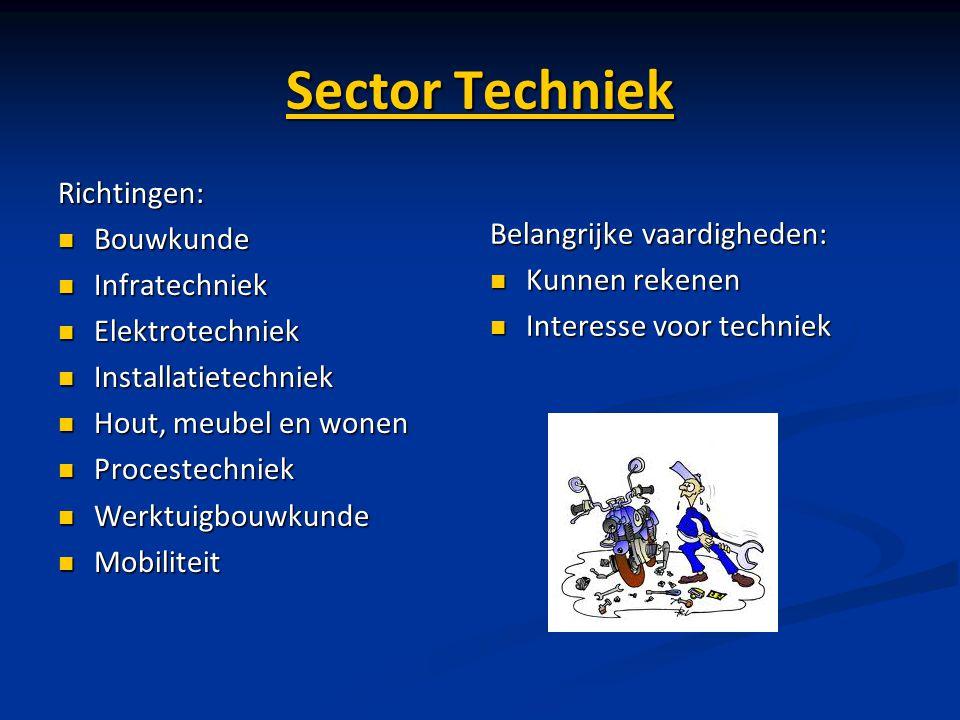 Sector Techniek Richtingen: Bouwkunde Infratechniek