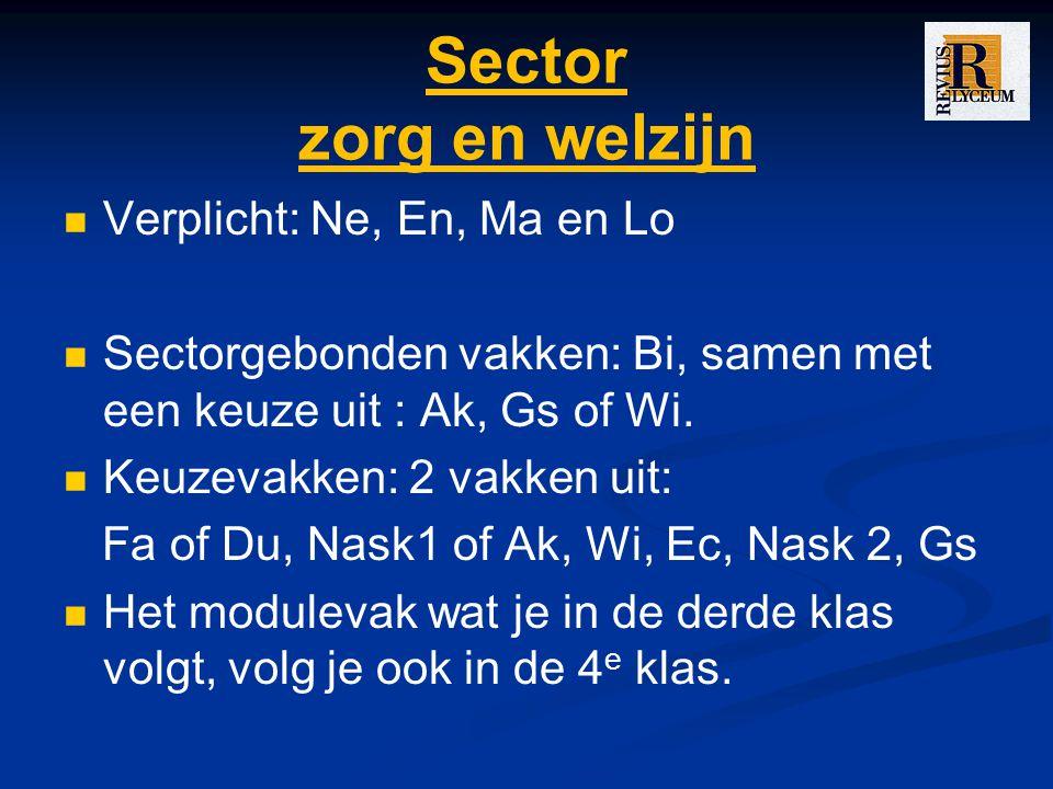 Sector zorg en welzijn Verplicht: Ne, En, Ma en Lo