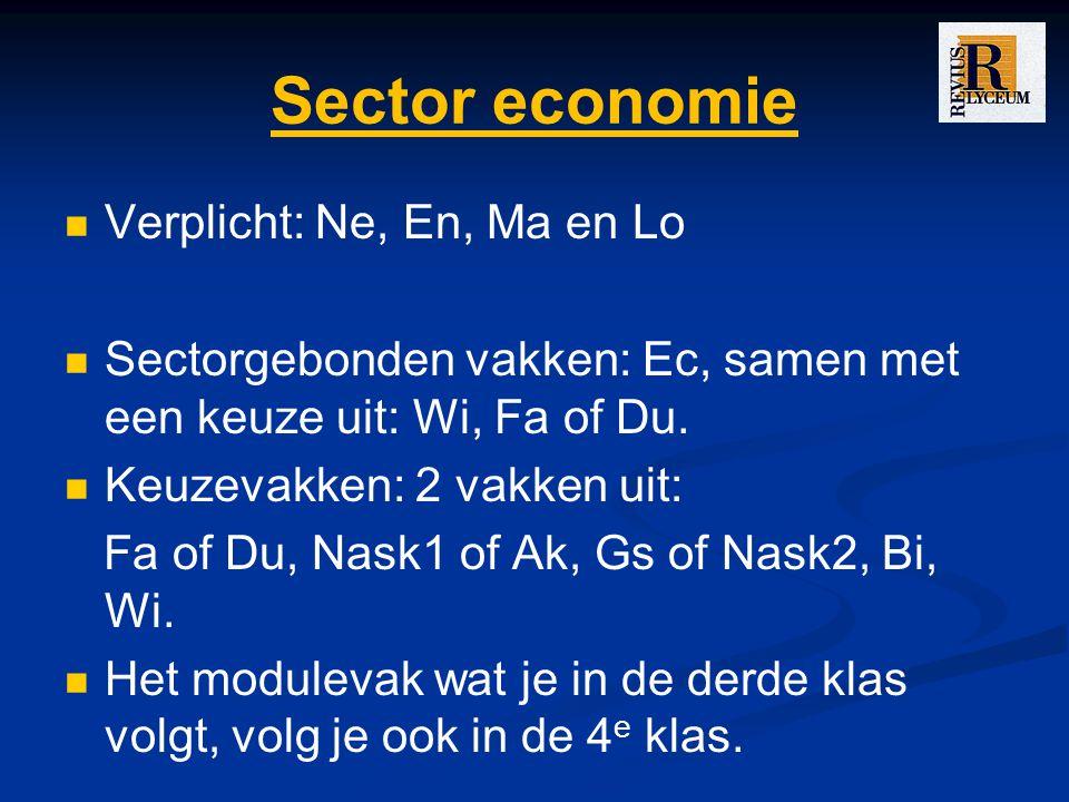 Sector economie Verplicht: Ne, En, Ma en Lo