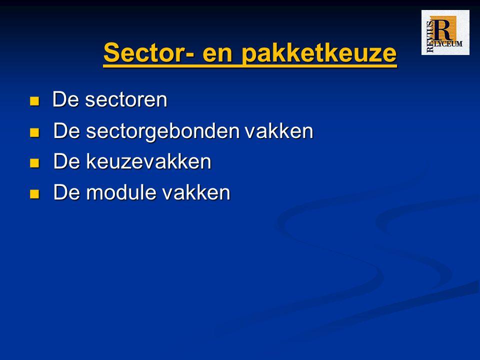 Sector- en pakketkeuze
