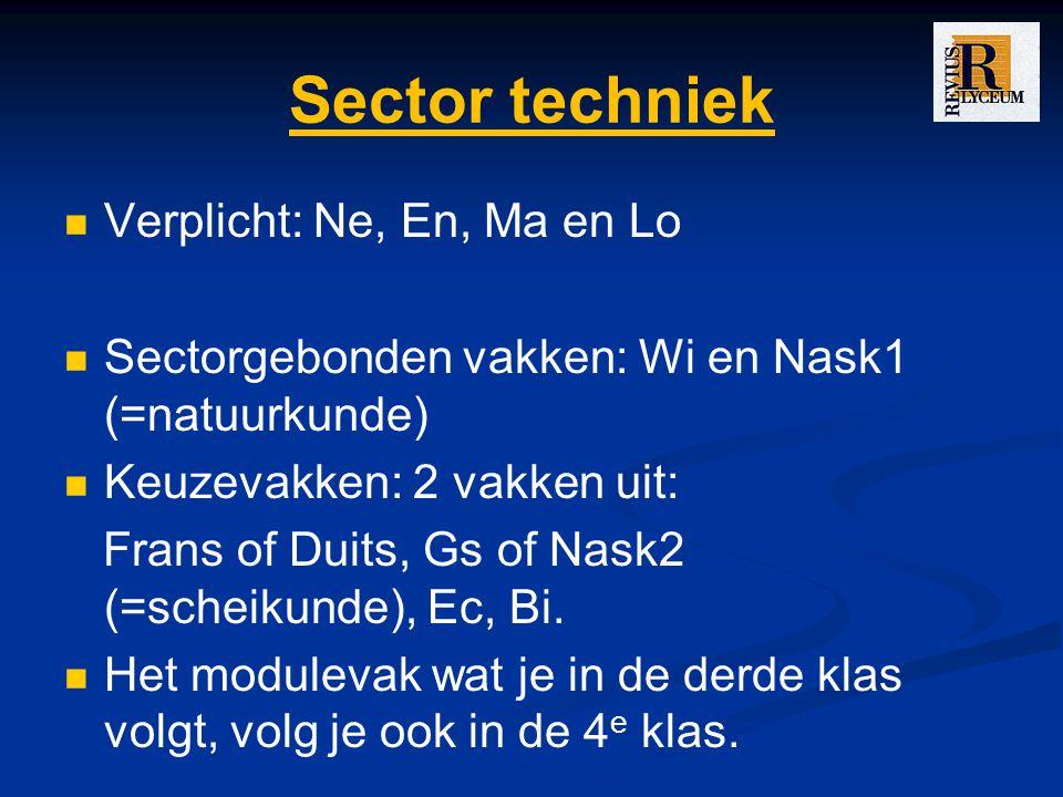 Sector techniek Verplicht: Ne, En, Ma en Lo