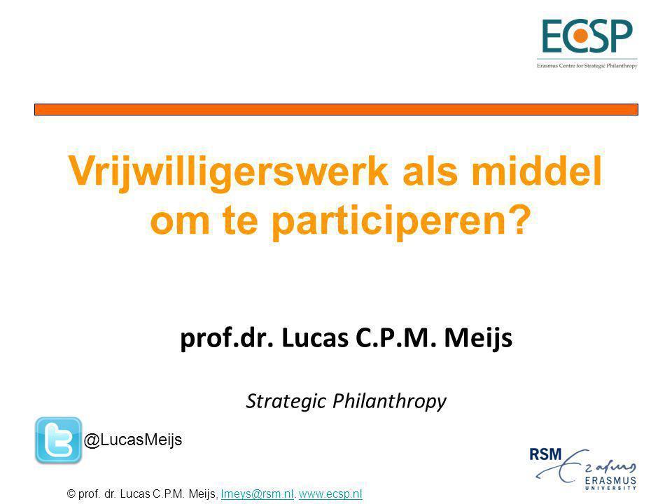 prof.dr. Lucas C.P.M. Meijs Strategic Philanthropy