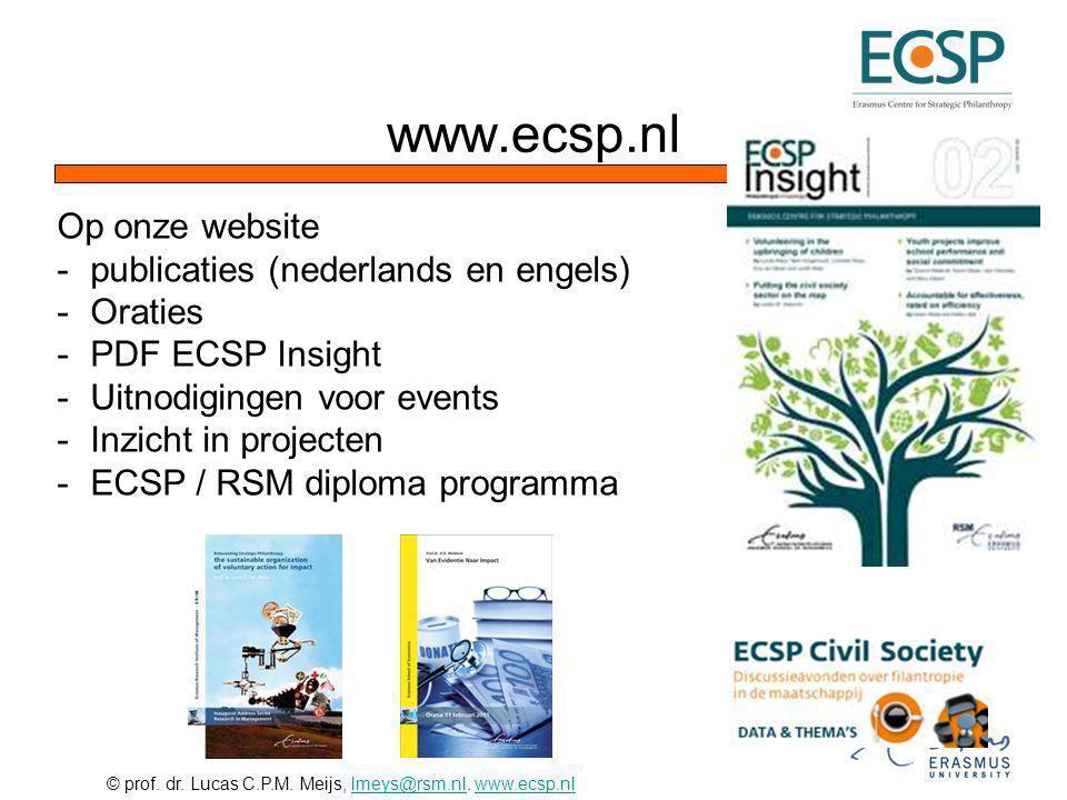 www.ecsp.nl Op onze website publicaties (nederlands en engels) Oraties