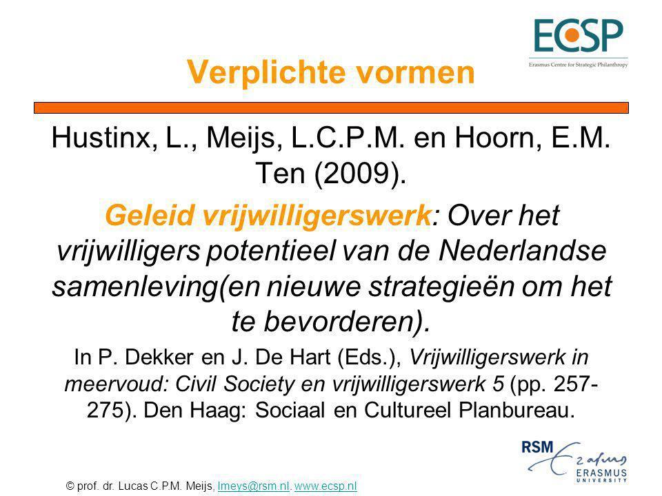Hustinx, L., Meijs, L.C.P.M. en Hoorn, E.M. Ten (2009).