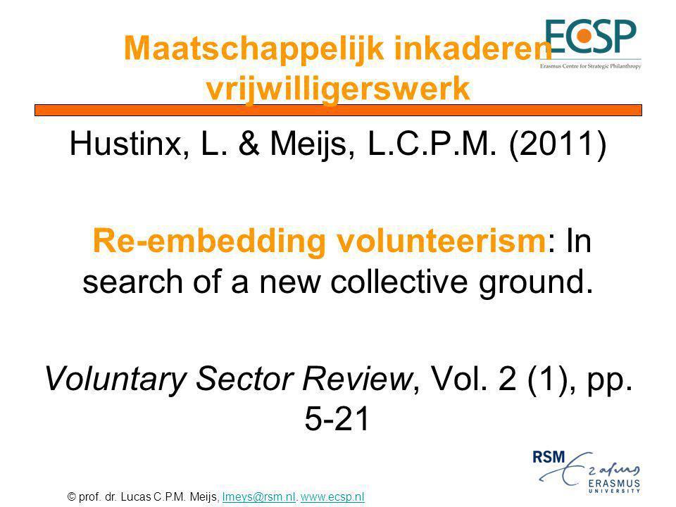 Maatschappelijk inkaderen vrijwilligerswerk