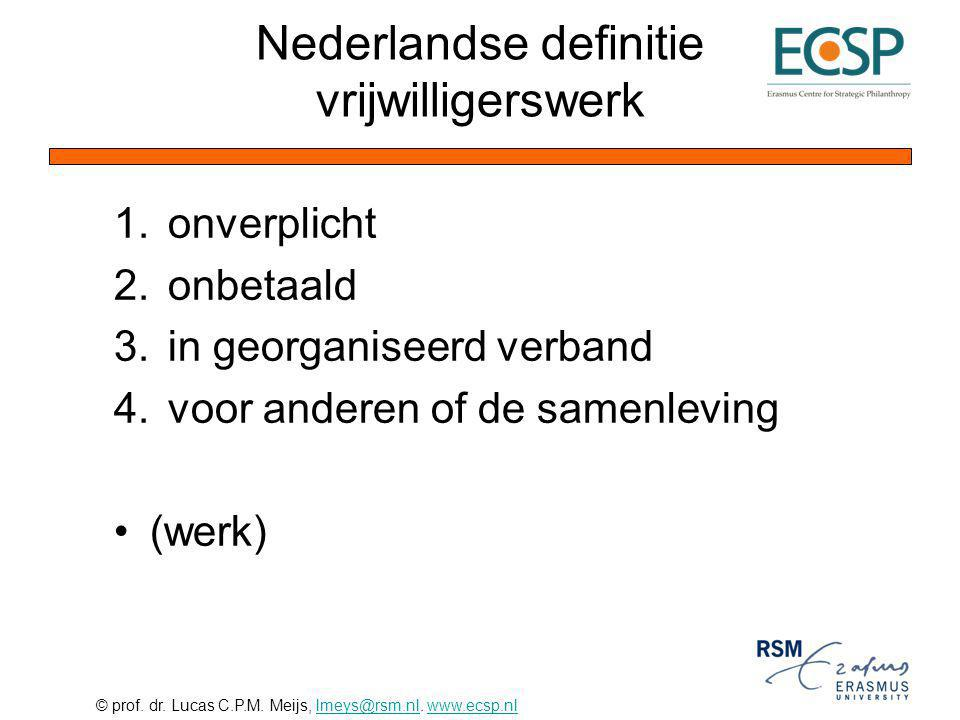 Nederlandse definitie vrijwilligerswerk