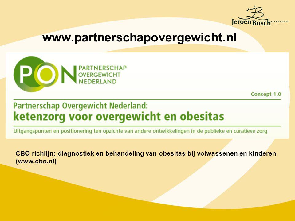 www.partnerschapovergewicht.nl CBO richlijn: diagnostiek en behandeling van obesitas bij volwassenen en kinderen.