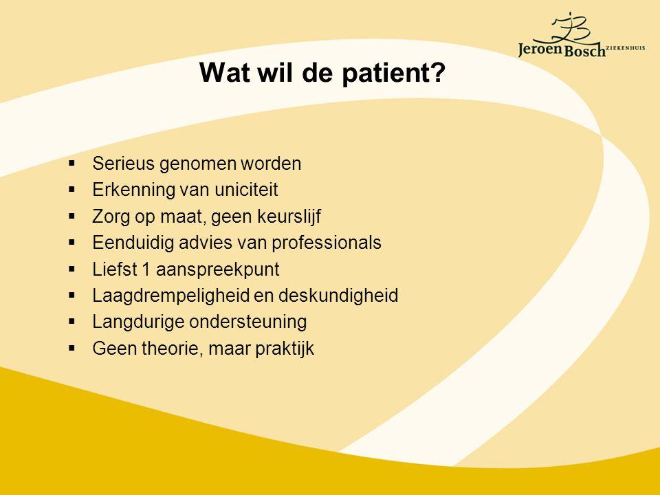 Wat wil de patient Serieus genomen worden Erkenning van uniciteit