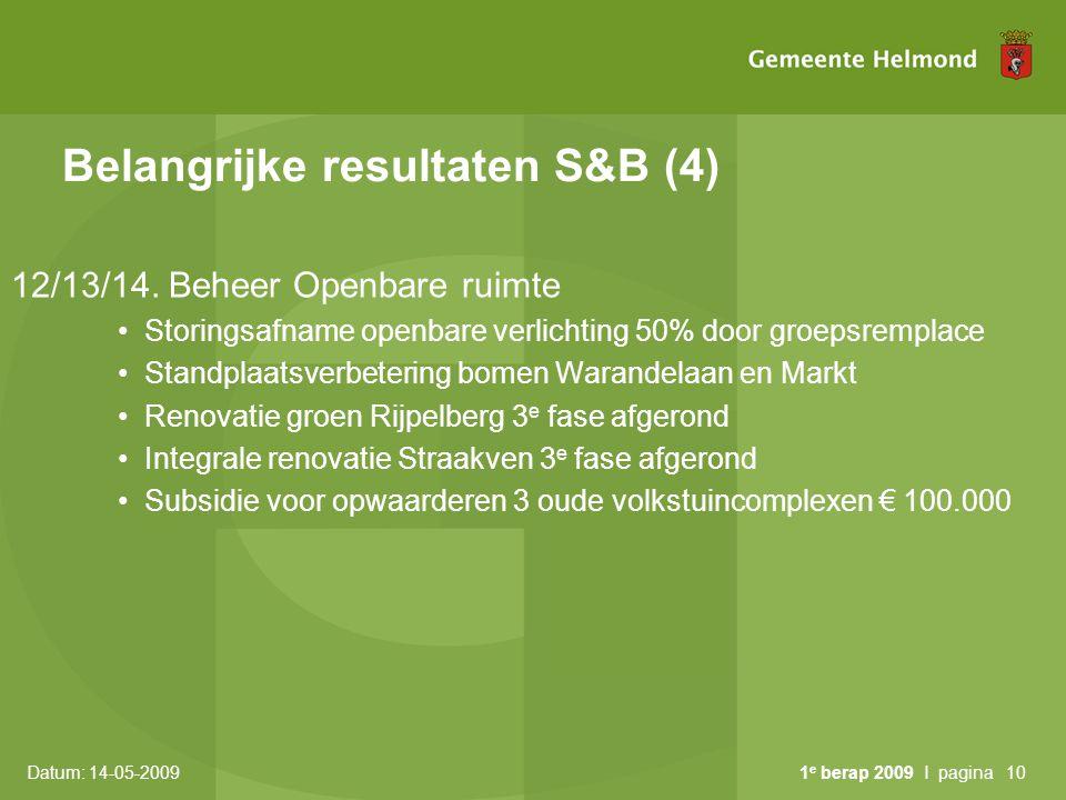 Belangrijke resultaten S&B (4)