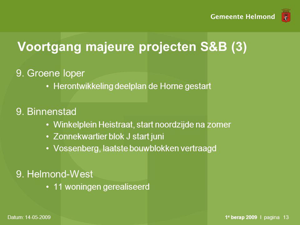 Voortgang majeure projecten S&B (3)