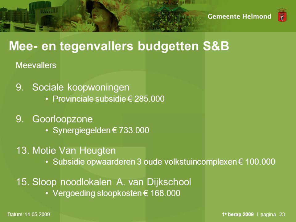 Mee- en tegenvallers budgetten S&B