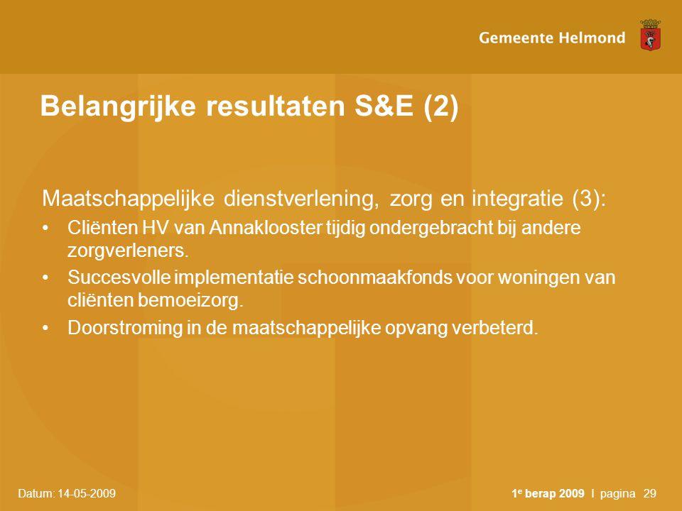 Belangrijke resultaten S&E (2)