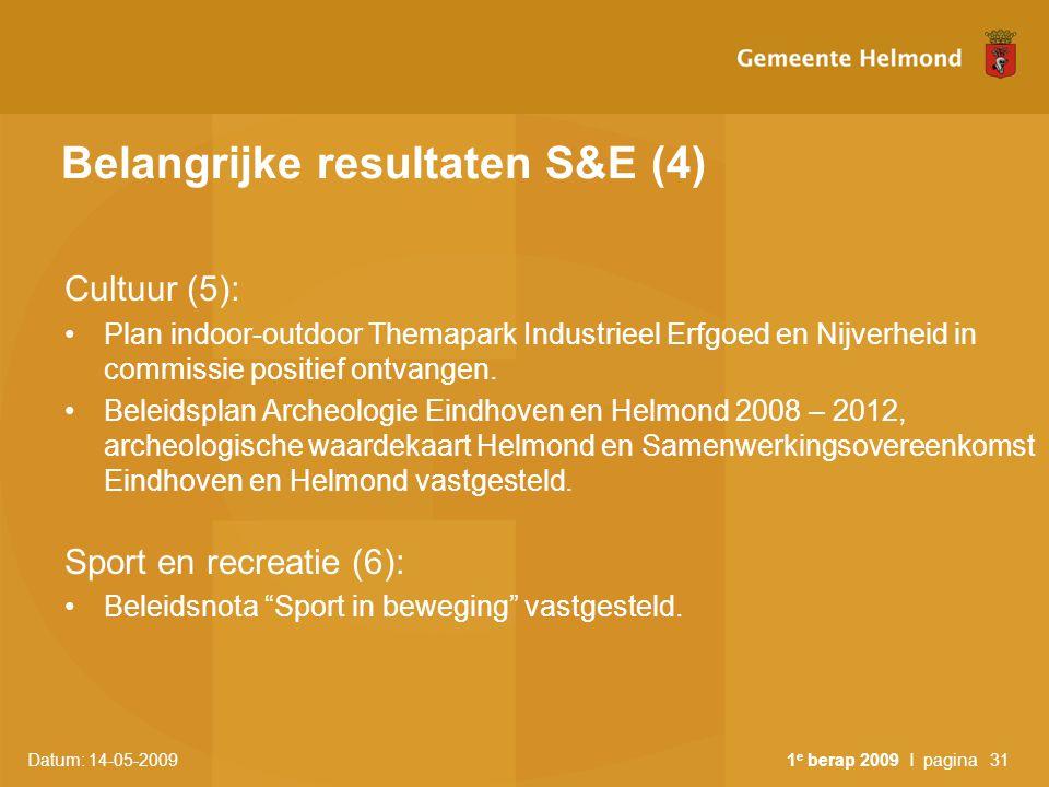 Belangrijke resultaten S&E (4)