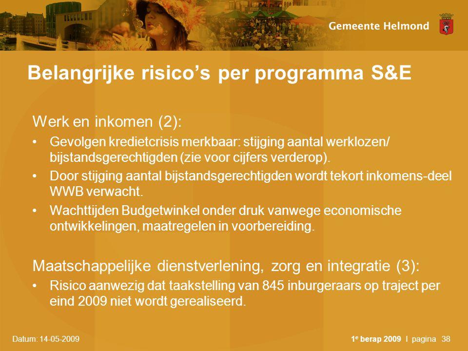Belangrijke risico's per programma S&E