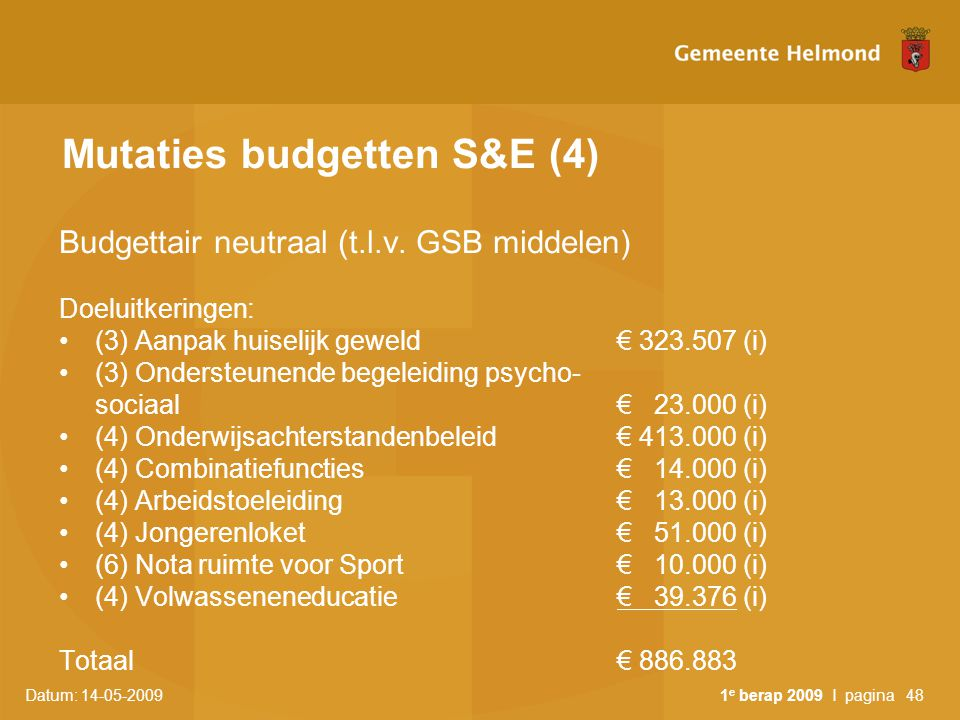Mutaties budgetten S&E (4)
