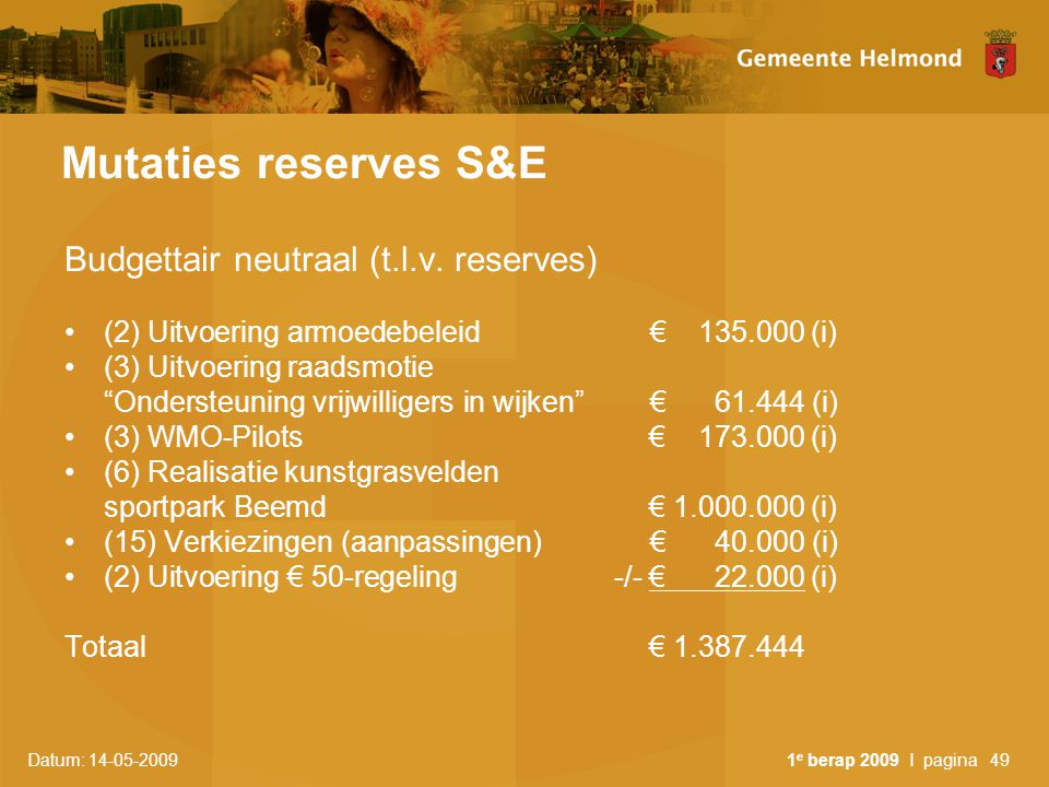 Mutaties reserves S&E Budgettair neutraal (t.l.v. reserves)