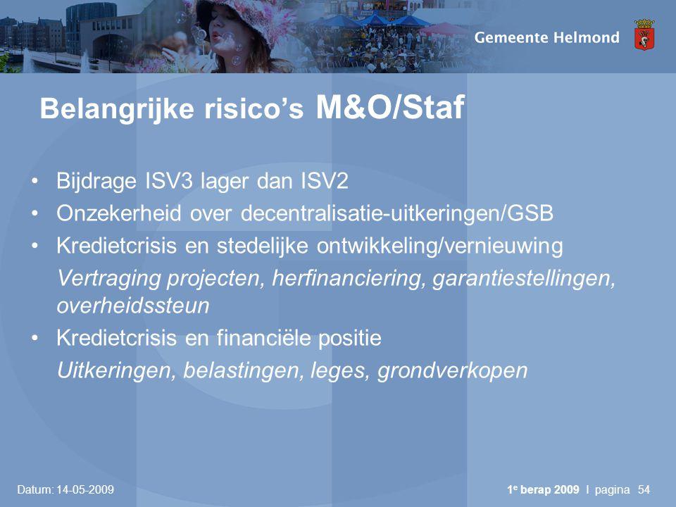 Belangrijke risico's M&O/Staf