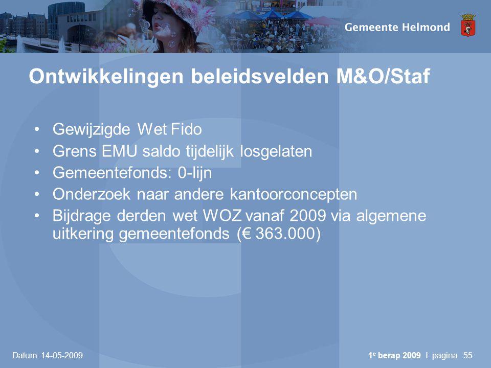 Ontwikkelingen beleidsvelden M&O/Staf
