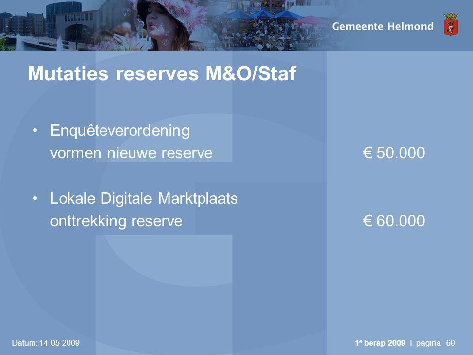 Mutaties reserves M&O/Staf