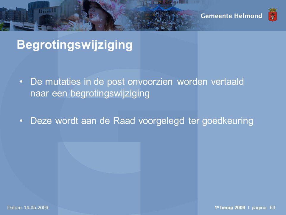 Begrotingswijziging De mutaties in de post onvoorzien worden vertaald naar een begrotingswijziging.