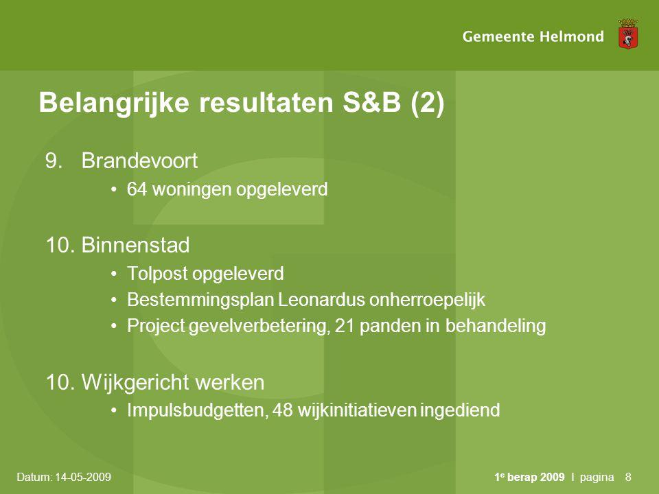 Belangrijke resultaten S&B (2)