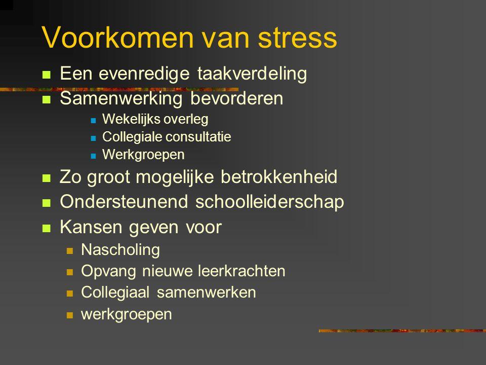 Voorkomen van stress Een evenredige taakverdeling