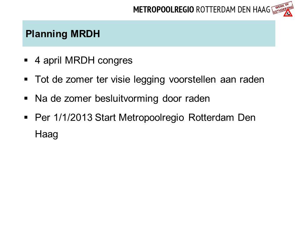 Planning MRDH 4 april MRDH congres. Tot de zomer ter visie legging voorstellen aan raden. Na de zomer besluitvorming door raden.