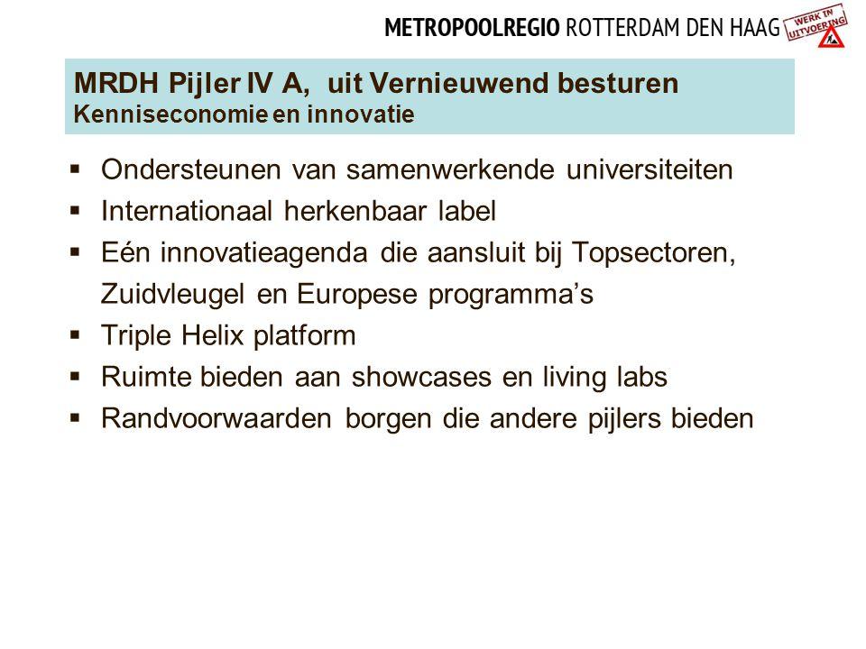 MRDH Pijler IV A, uit Vernieuwend besturen Kenniseconomie en innovatie