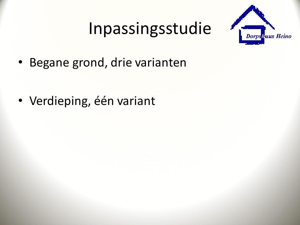Inpassingsstudie Begane grond, drie varianten Verdieping, één variant