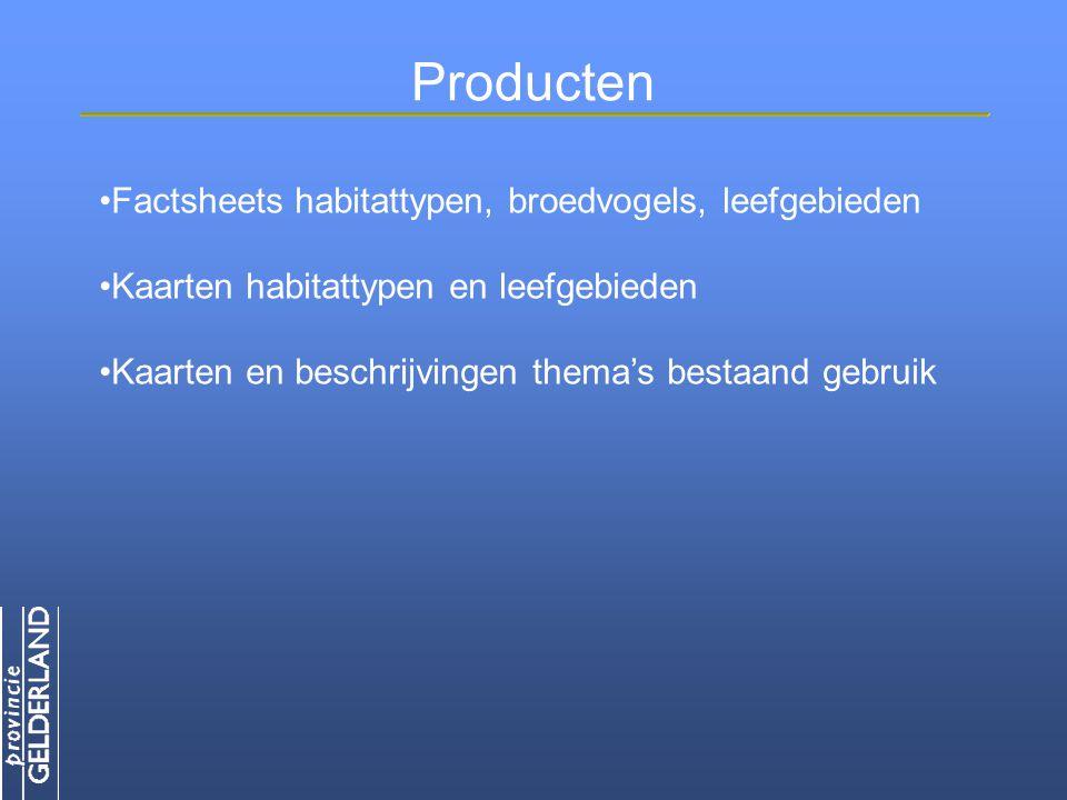 Producten Factsheets habitattypen, broedvogels, leefgebieden