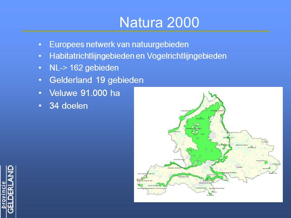 Natura 2000 Gelderland 19 gebieden Veluwe 91.000 ha 34 doelen