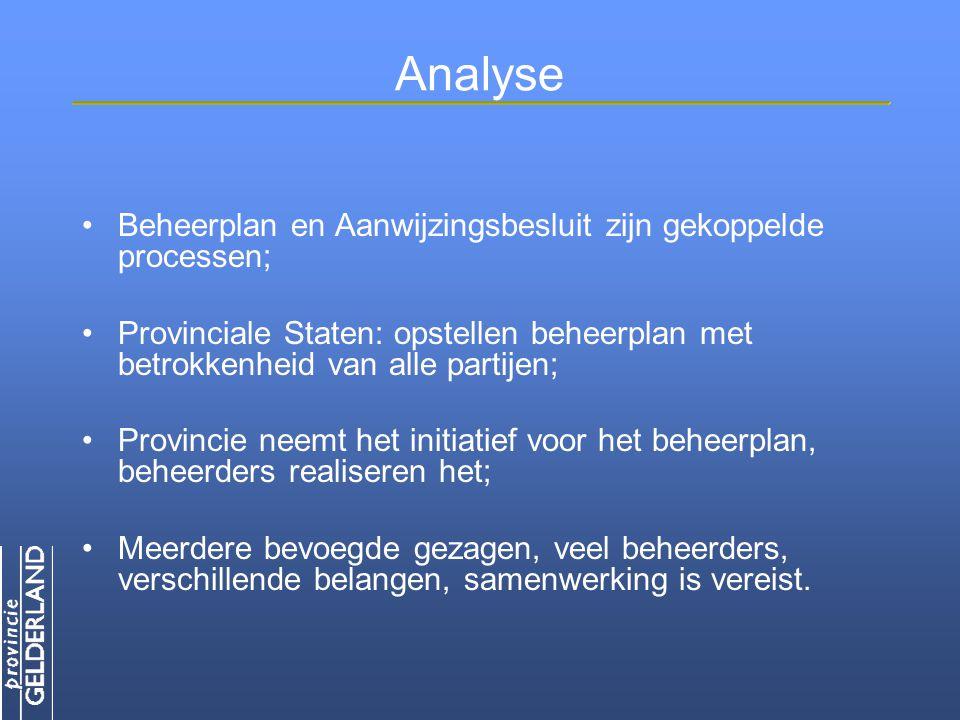 Analyse Beheerplan en Aanwijzingsbesluit zijn gekoppelde processen;