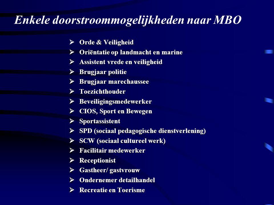 Enkele doorstroommogelijkheden naar MBO